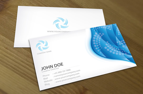 Blue wave corporate Business card